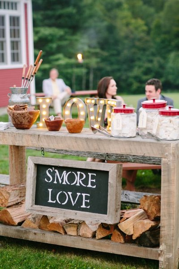 rustic whimsical outdoor wedding S'mores Bar ideas
