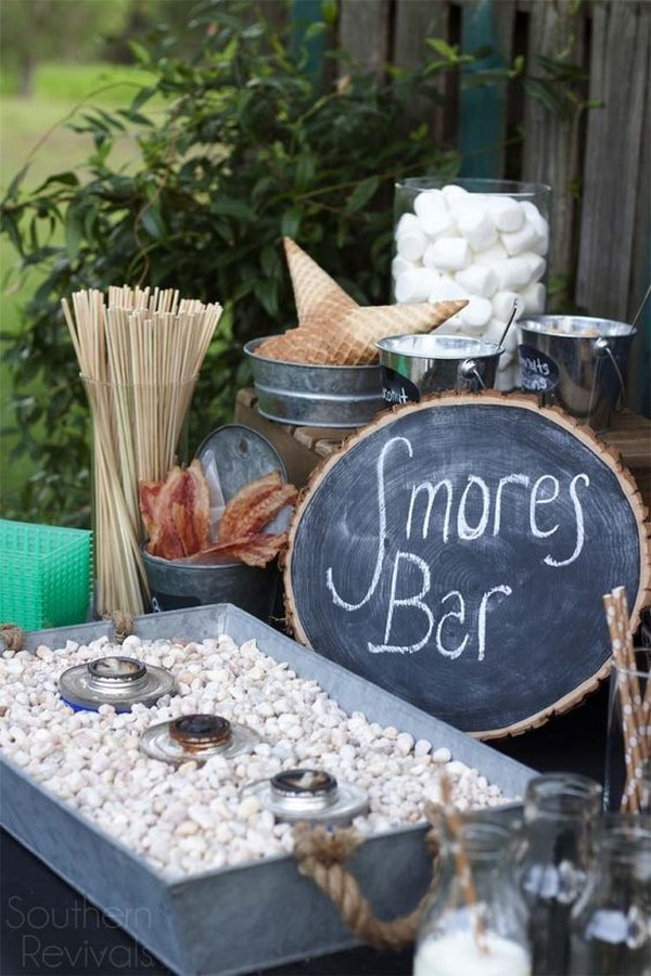 rustic S'mores Bar wedding reception ideas