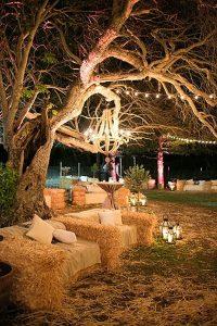 rustic backyard wedding hay bale seating ideas