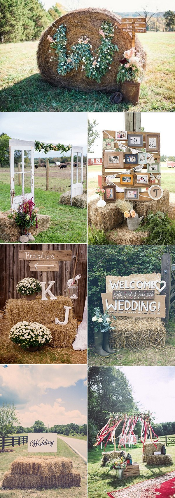 rustic budget wedding decoration idea with hay bales