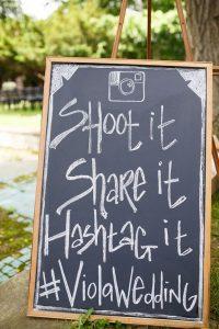 rustic chalkboard wedding hashtag sign