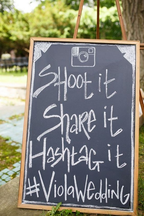 rustic chalkboard wedding hashtag sign