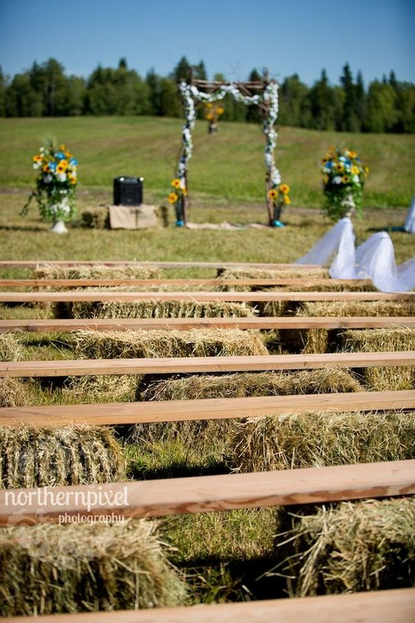 rustic hay bale benches for country ceremony decorations