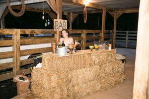 rustic hay bale wedding bar station