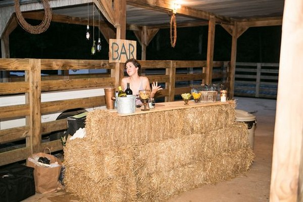 rustic hay bale wedding bar station