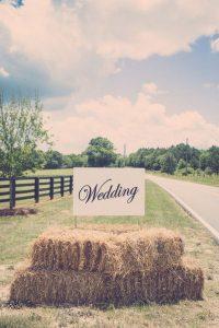 rustic hay bale wedding sign ideas