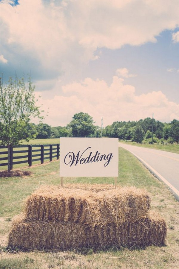 rustic hay bale wedding sign ideas