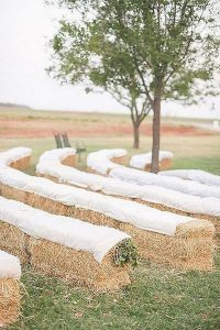 rustic outdoor hay bale wedding ceremony seating ideas