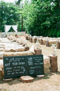 rustic outdoor wedding ceremony ideas with hay bale seatings