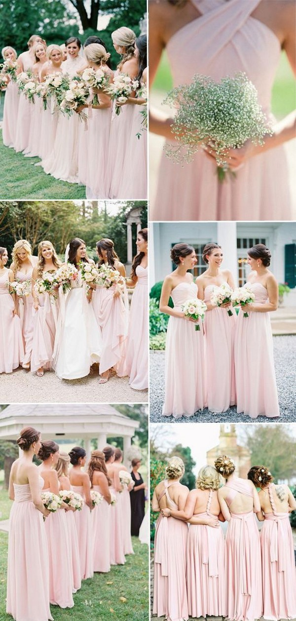 trending blush bridesmaid dresses