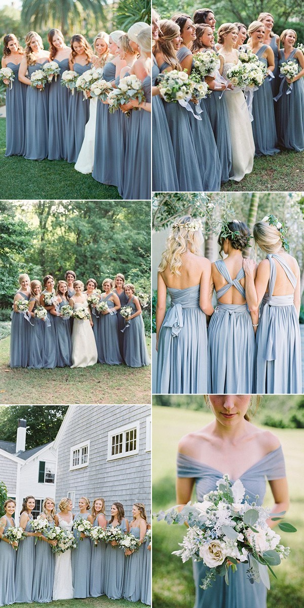 trending dusty blue bridesmaid dresses