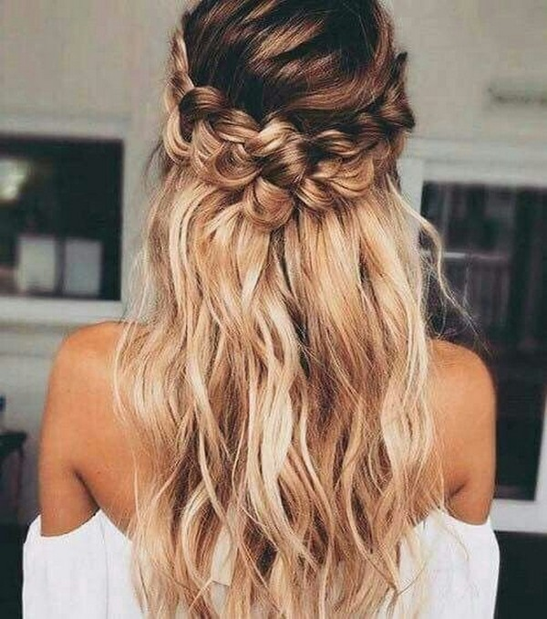 trending half up half down wedding hairstyle