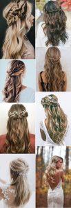 trending half up half down wedding hairstyles
