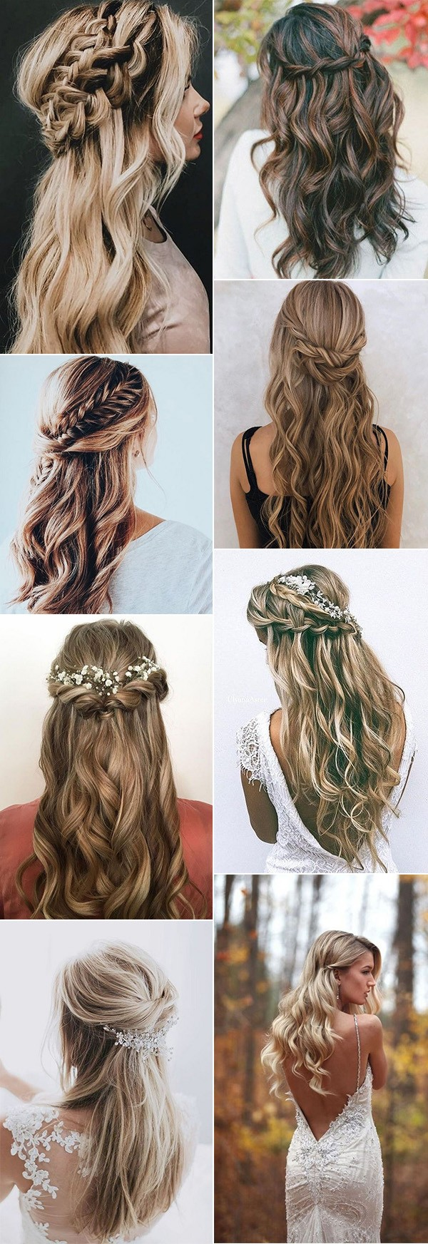 trending half up half down wedding hairstyles