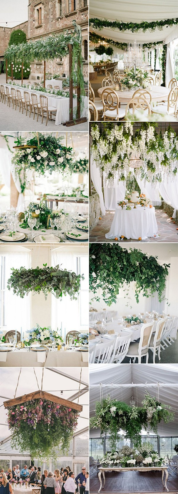 trending wedding reception decoration ideas with hanging floral