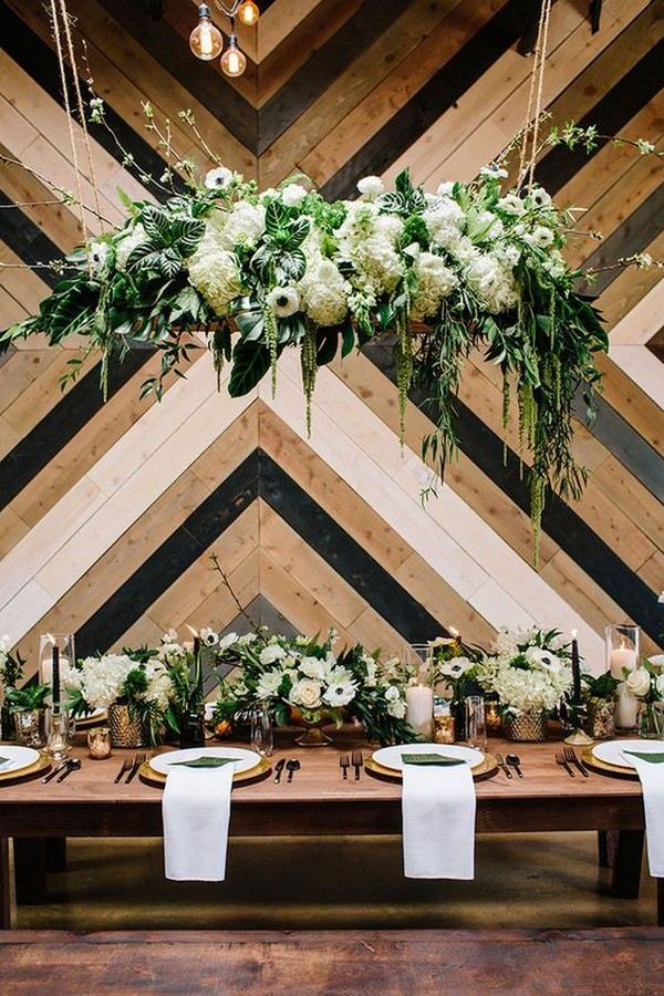 urban tropical wedding ideas with hanging greenery