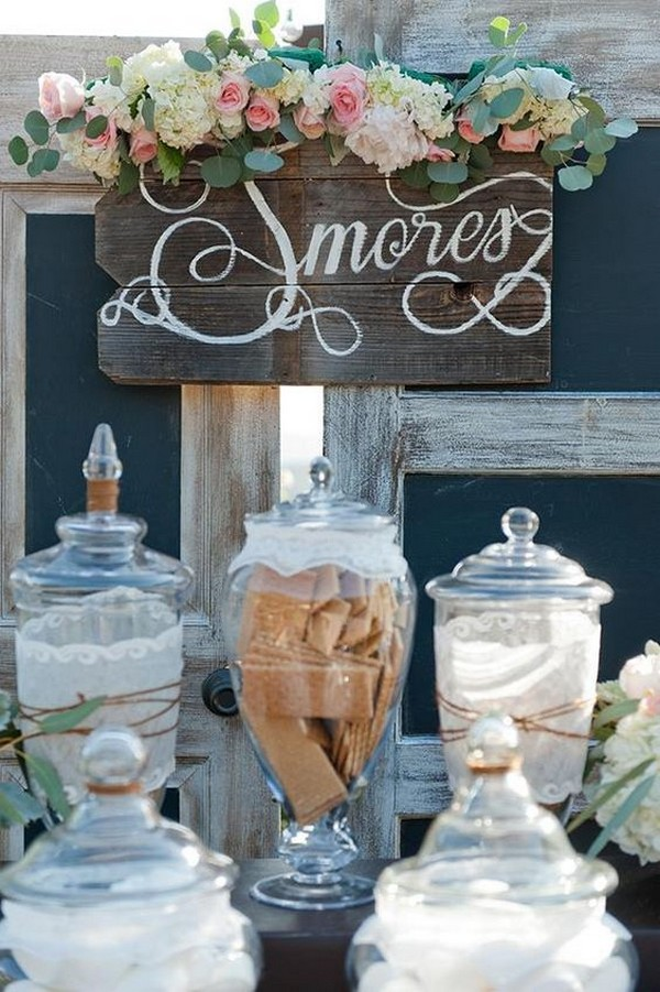 vintage chic S'mores Bar wedding dessert ideas