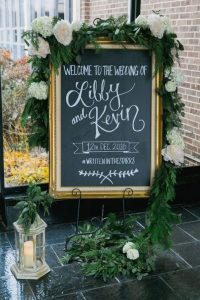 vintage chic chalkboard wedding sign with hashtag