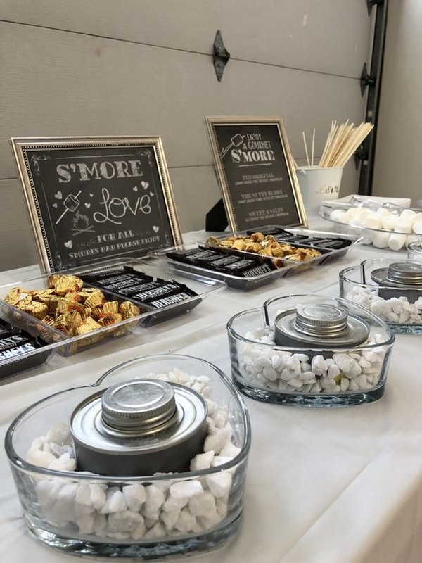 vintage wedding S'mores Bar dessert display ideas