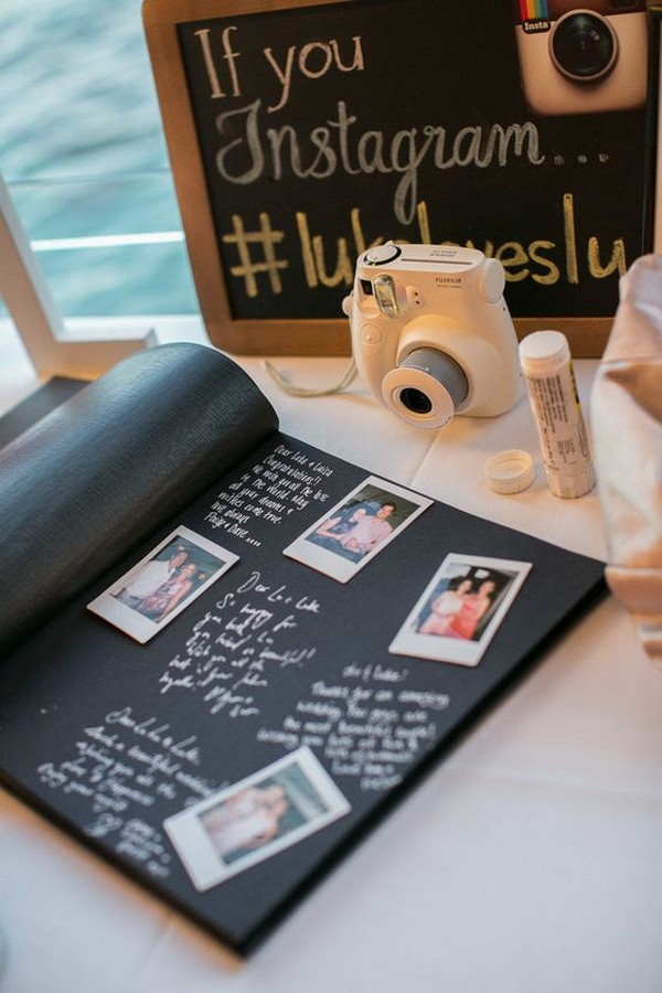 vintage wedding ideas with polaroid and hashtag