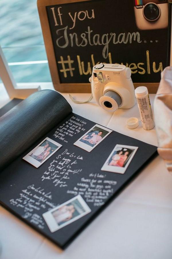 vintage wedding ideas with polaroid and hashtag