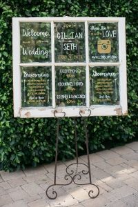 vintage window wedding sign ideas with hashtag