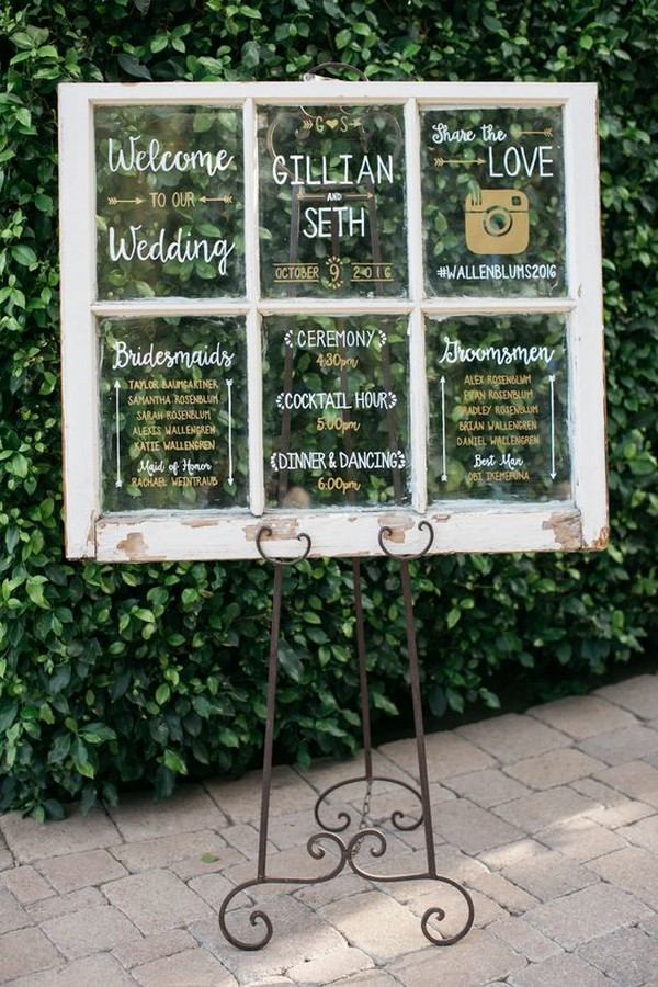 vintage window wedding sign ideas with hashtag