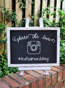 wedding chalkboard hashtag sign ideas