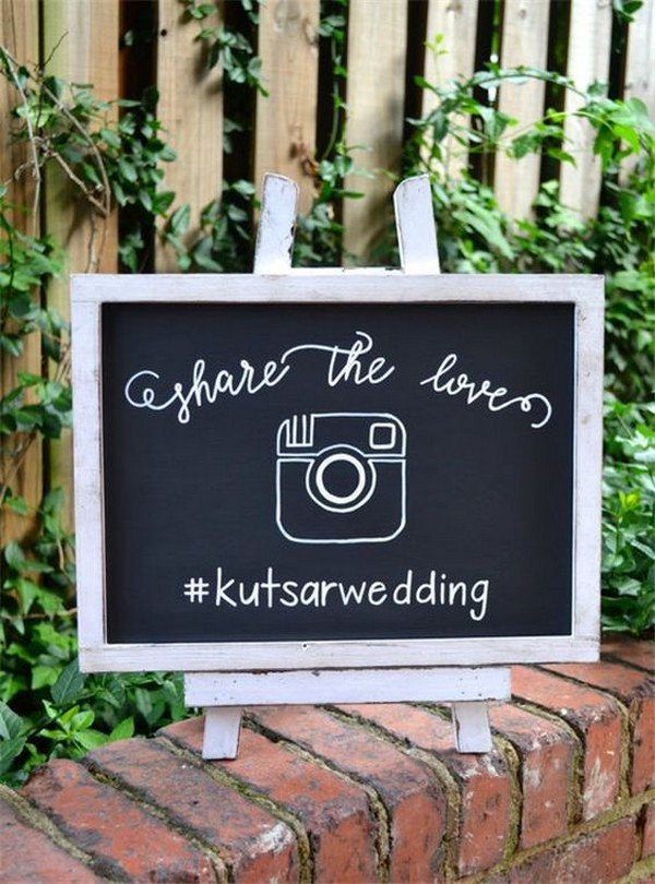 wedding chalkboard hashtag sign ideas