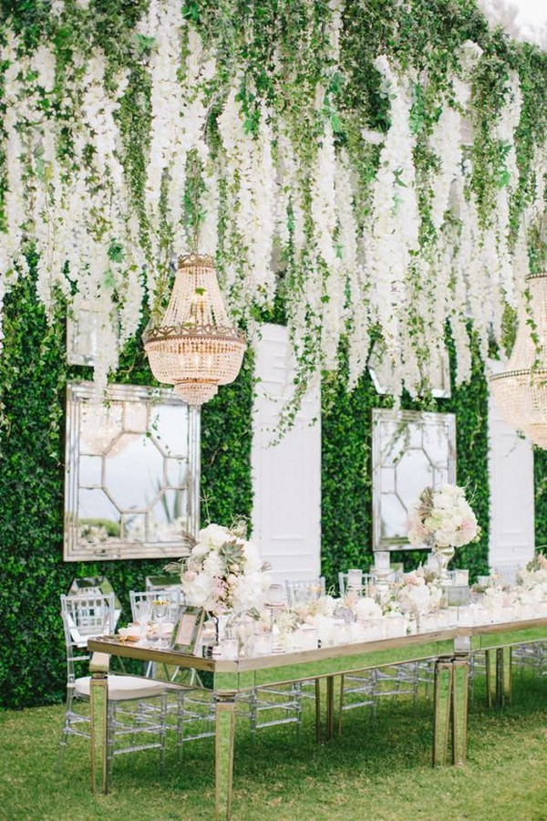 whimsical wedding reception decorations with hanging floral
