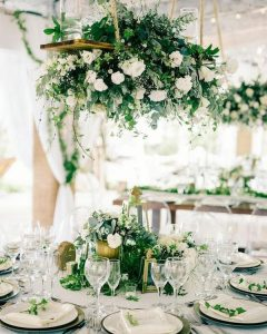 white and greenery elegant wedding reception ideas with hanging floral