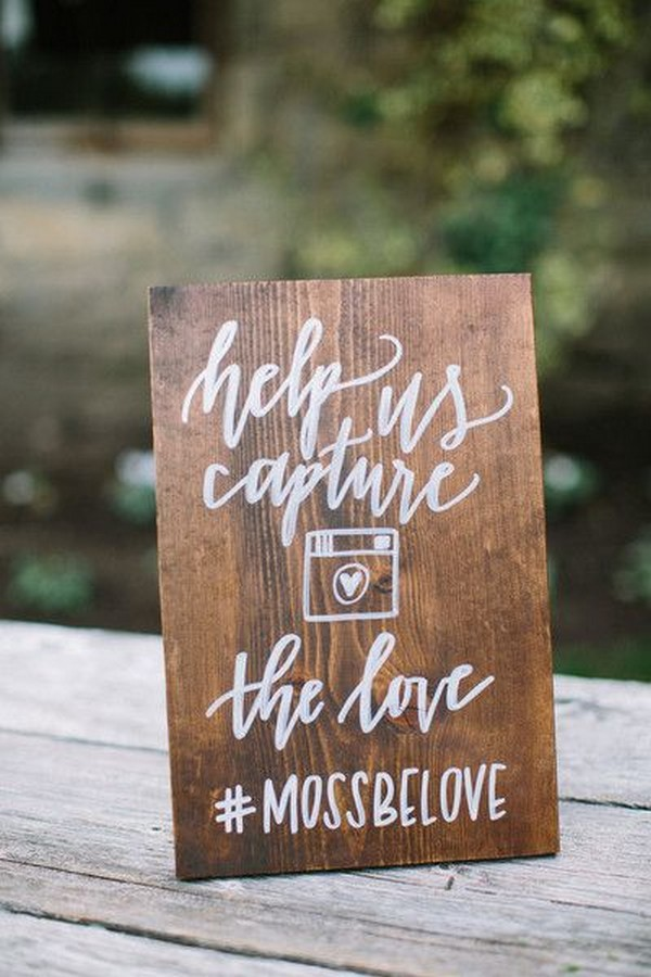 wooden wedding hashtag sign ideas