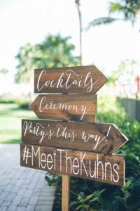 wooden wedding signs with hashtag