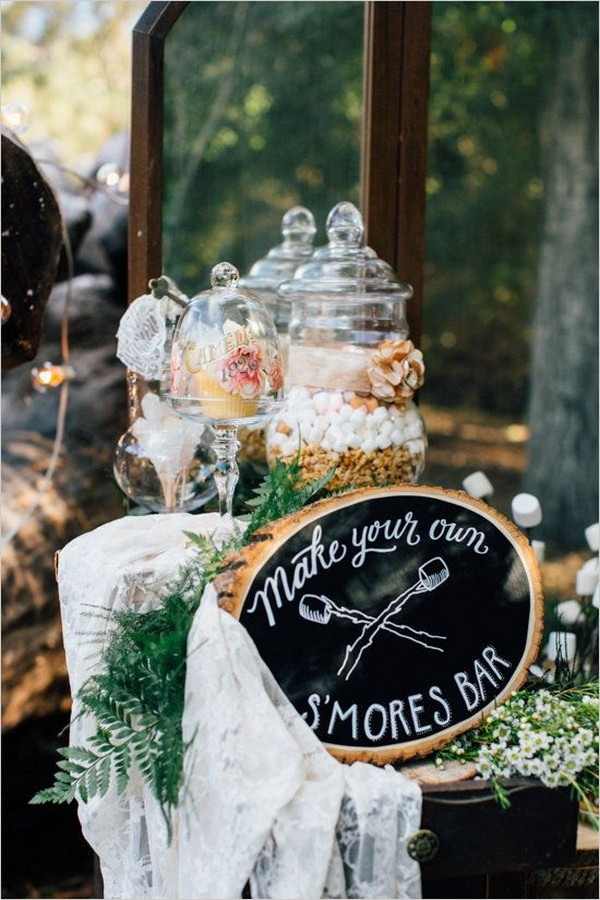 woodland winter wedding S'mores Bar ideas