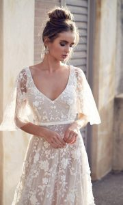 Anna Campbell Amelie v neck floral wedding dress with sleeves
