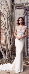 Anna Campbell Aria pearl and silver vintage beaded wedding dress with cap sleeves