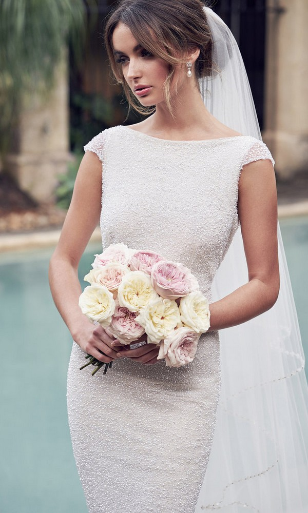 Anna Campbell Blair beaded wedding dress with cap sleeves