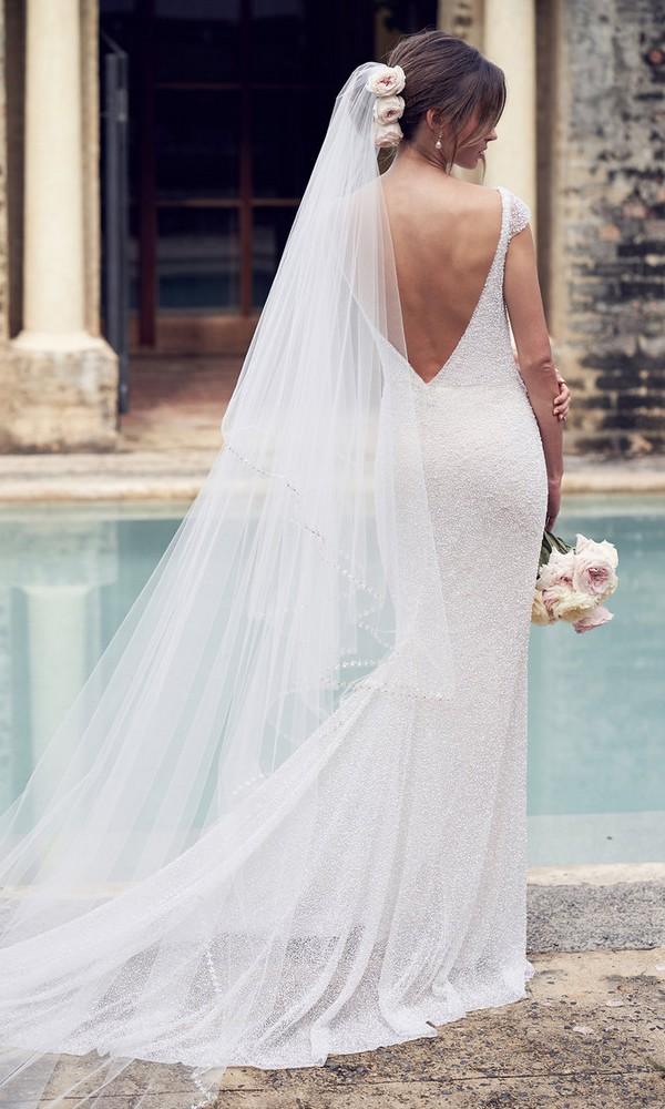 Anna Campbell Blair beaded wedding dress with v back