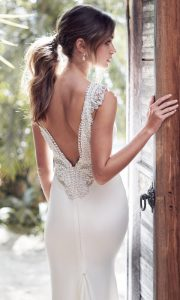 Anna Campbell Blake sleek and chic bridal gown with detailed back