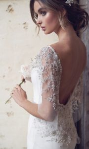 Anna Campbell Eva silk wedding dress with illusion sleeves and open back