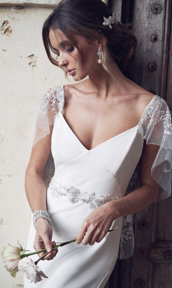 Anna Campbell Eva silk wedding dress with illusion sleeves