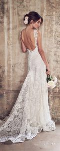 Anna Campbell Jamie v neck lace wedding dress back view