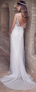 Anna Campbell Paige sparkling beaded vintage wedding dress with open back