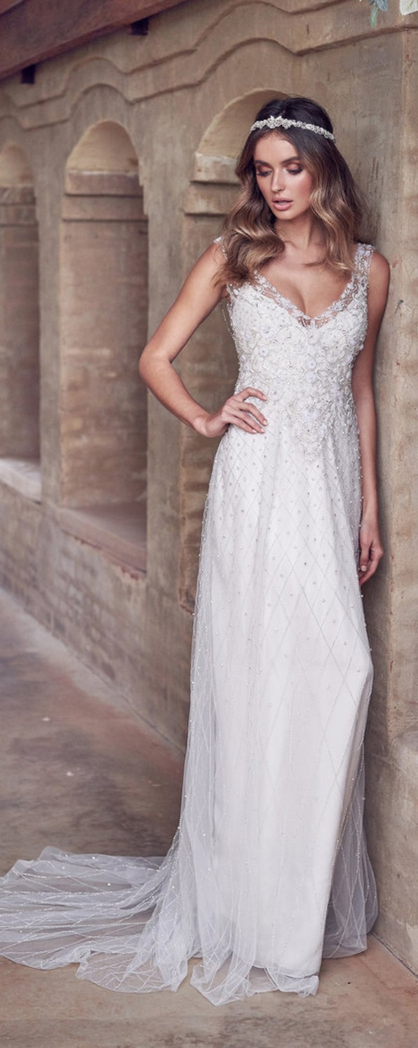Anna Campbell Paige sparkling beaded wedding dress