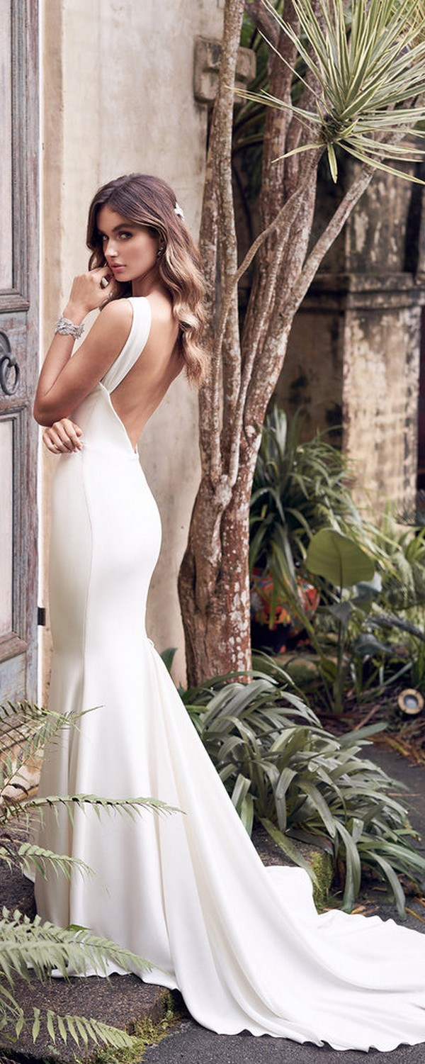 Anna Campbell Rebekah vintage wedding gown with deep v back