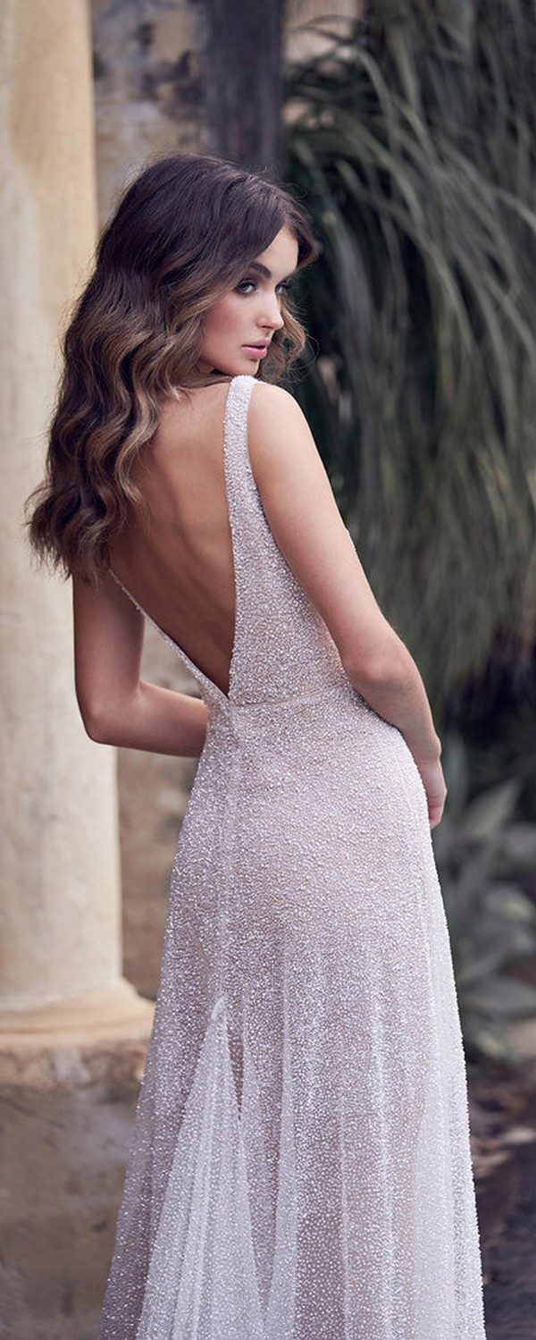 Anna Campbell Wanda sequins beaded vintage wedding dress with deep v back