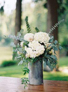 Hydrangea and eucalyptus wedding centerpiece