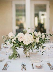 Hydrangea and eucalyptus wedding centerpiece ideas