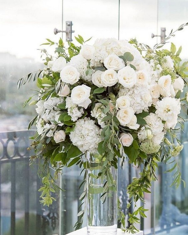 Hydrangea blush garden roses and eucalyptus wedding centerpiece