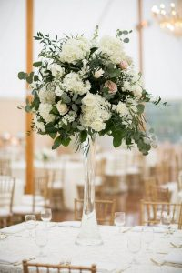 Tall Eucalyptus, Rose and Hydrangea Wedding Centerpieces